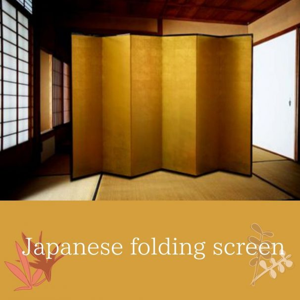 (English) Japanese folding screen